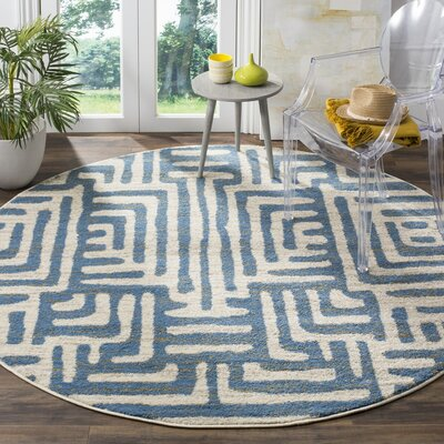 Vadim Ivory/Light Blue Area Rug Rug Size: Rectangle 3 x 5