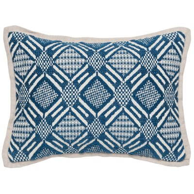 Schall Cotton Throw Pillow Color: Blue/Ivory