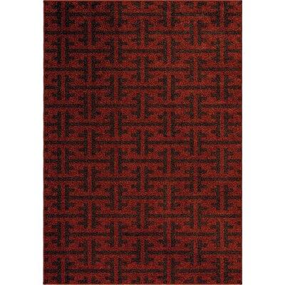 Jovani Clipper Rawhide Red/Black Indoor/Outdoor Area Rug