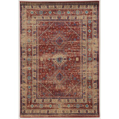 Shelie Power Loom Goravan Red Area Rug Rug Size: 2 x 3