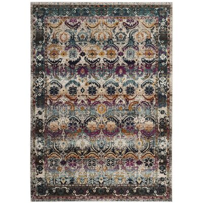 Wayne Cream/Green Area Rug Rug Size: 51 x 76