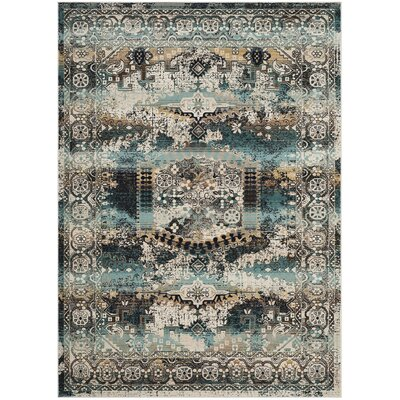 Wayne Ivory/Teal Area Rug Rug Size: Rectangle 67 x 92