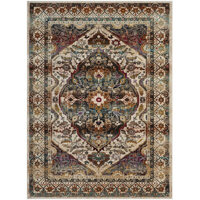 Wayne Ivory/Teal Area Rug Rug Size: Rectangle 9 x 12