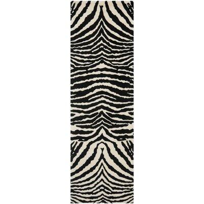 Dorthy Wool Ivory/Black Area Rug Rug Size: Runner 26 x 8