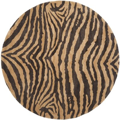 Dorthy Brown/Gold Area Rug Rug Size: Round 6