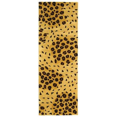 Dorthy Handmade Gold/Black Area Rug Rug Size: Runner 26 x 12