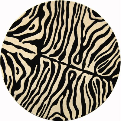 Dorthy Beige/Charcoal Area Rug Rug Size: Round 6