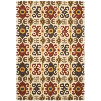 Dorthy Ivory/Red Contemporary Rug Rug Size: 96 x 136