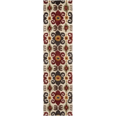Argana Ivory/Red Contemporary Rug Rug Size: Runner 26 x 12