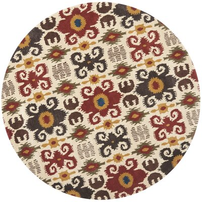 Dorthy Ivory/Red Contemporary Area Rug Rug Size: Round 6