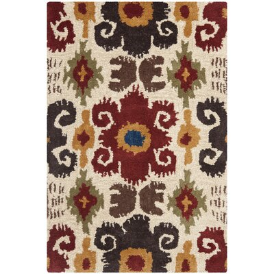 Dorthy Ivory/Red Contemporary Area Rug Rug Size: Rectangle 2 x 3