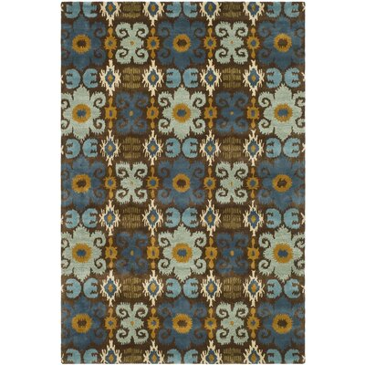 Dorthy Brown/Blue Rug Rug Size: Runner 26 x 8