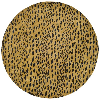 Dorthy Yellow/Black Area Rug Rug Size: Round 6