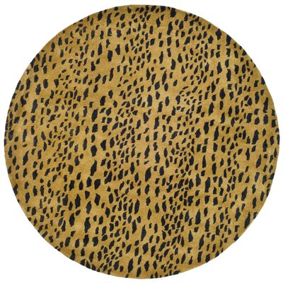Dorthy Yellow/Black Area Rug Rug Size: Round 4