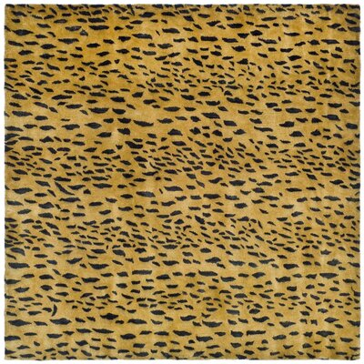 Argana Yellow/Black Area Rug Rug Size: Square 4