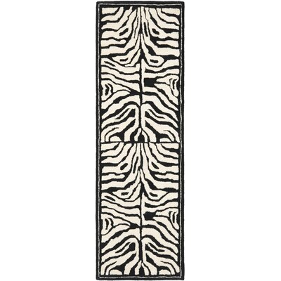 Dorthy Hand Woven Ivory/Black Area Rug Rug Size: Runner 26 x 8