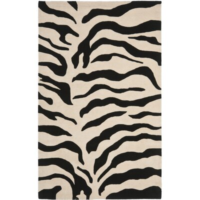 Dorthy Beige/Black Area Rug Rug Size: Rectangle 76 x 96