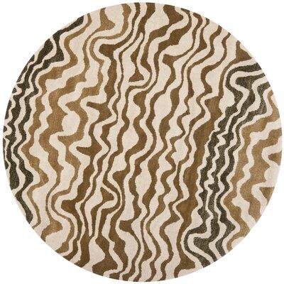Dorthy Beige/Brown Area Rug Rug Size: Round 6