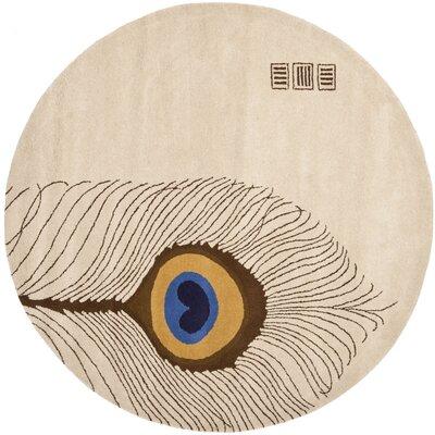 Dorthy Hand-Tufted Beige/Brown Area Rug Rug Size: Round 6