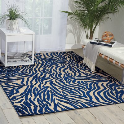 Gerdes Navy Indoor/Outdoor Area Rug Rug Size: Rectangle 53 x 75
