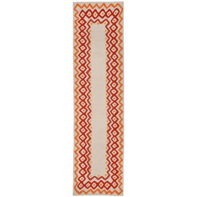 Francis Ethnic Border Orange Indoor/Outdoor Area Rug Rug Size: Runner 2 x 8