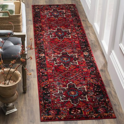 Barrera Red/Black Area Rug Rug Size: Runner 22 x 22