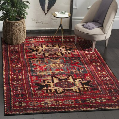 Parthenia Red/Multi Area Rug Rug Size: 53 x 76