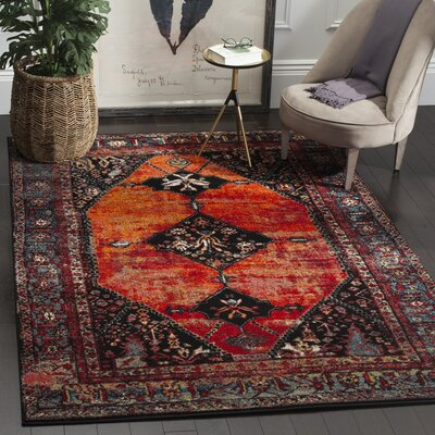 Rangel Orange Area Rug Rug Size: Rectangle 9 x 12