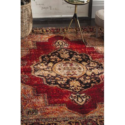 Byron Red Area Rug Rug Size: 9 x 12