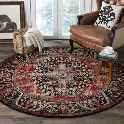 Mccall Red/Black Area Rug Rug Size: Round 67