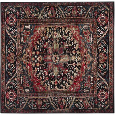 Byron Red/Black Area Rug Rug Size: Square 67