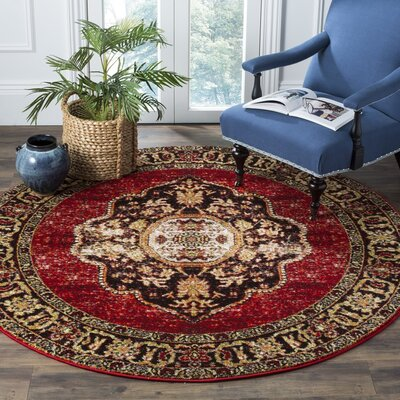 Byron Red Area Rug Rug Size: Round 67
