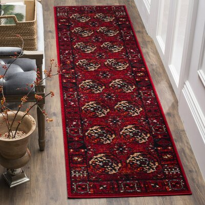 Parthenia Red Area Rug Rug Size: Round 67