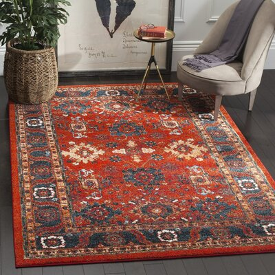 Parthenia Orange/Blue Area Rug Rug Size: Round 67