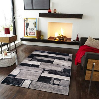 Archer Oblong Blocks Charcoal/Gray Area Rug Rug Size: 110 x 31