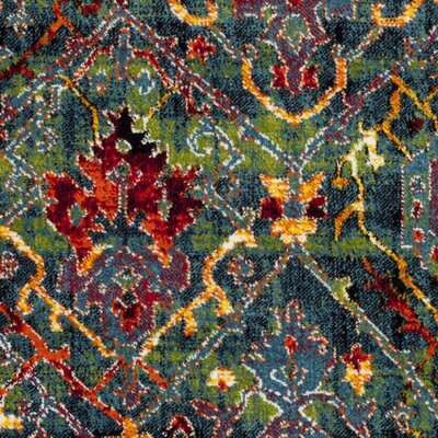 Antoine Blue/Red Area Rug Rug Size: 51 x 76