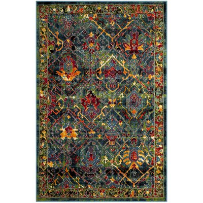Antoine Blue/Red Area Rug Rug Size: 6 x 9