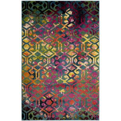 Antoine Light Blue/Fuchsia Area Rug Rug Size: Rectangle 6 x 9