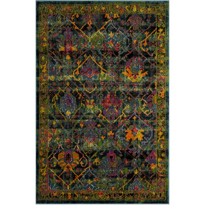 Antoine Black/Blue Area Rug Rug Size: Rectangle 51 x 76