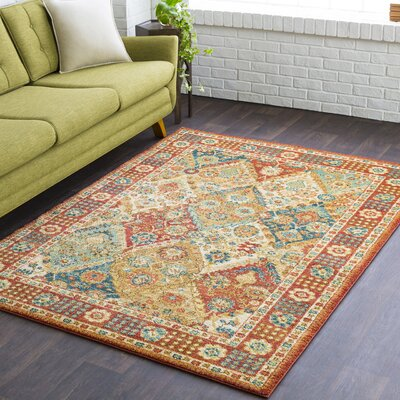 Naranjo Traditional Burnt Orange Area Rug Rug Size: 3 11 x 5 7
