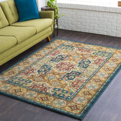 Naranjo Market Blue Area Rug Rug Size: Rectangle 5 3 x 7 3
