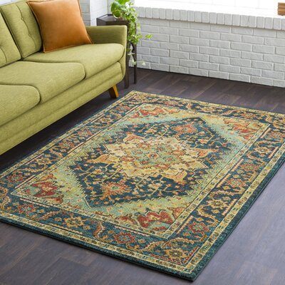 Naranjo Market Traditional Blue Area Rug Rug Size: Rectangle 3 11 x 5 7