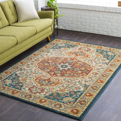 Naranjo Market Traditional Burnt Orange Area Rug Rug Size: Rectangle 5 3 x 7 3