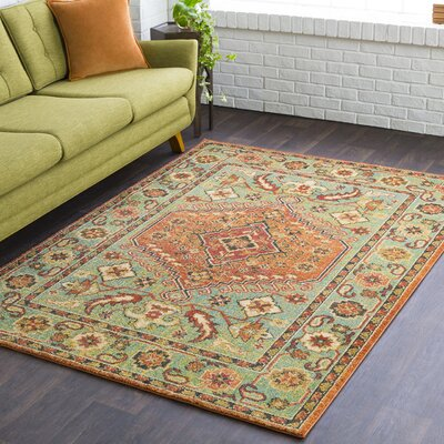 Masala Market Traditional Green Area Rug Rug Size: 3 11 x 5 7