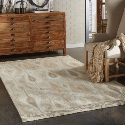 Joe Hand-Woven Green/Beige Area Rug Rug Size: 10 x 13