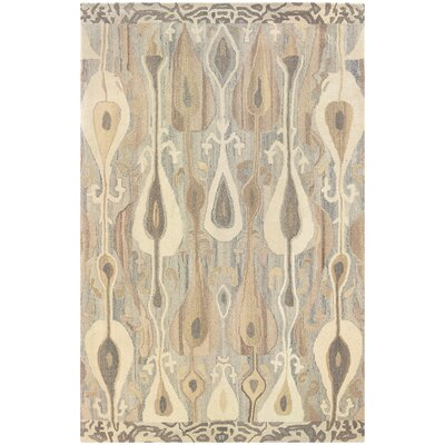 Mireille Hand-Woven Green/Beige Area Rug Rug Size: Rectangle 36 x 56