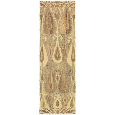 Mireille Hand-Woven Green/Beige Area Rug Rug Size: Runner 26 x 8