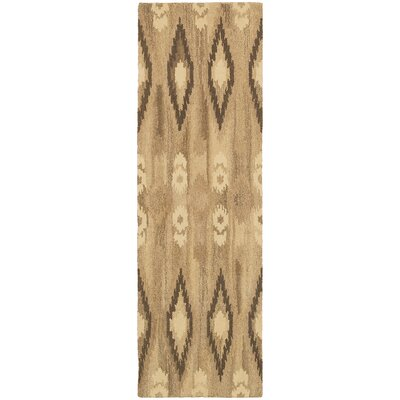 Joe Hand-Woven Beige/Green Area Rug Rug Size: 5 x 8