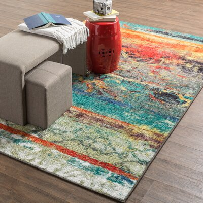Vermont Blue/Orange Area Rug Rug Size: Rectangle 5 x 8