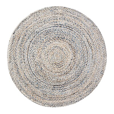 Berger Handmade Gold/Tan/Blue Area Rug Rug Size: Round 4